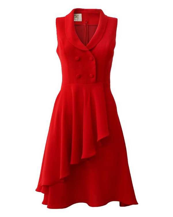 پیراهن زنانه کرپ کد 1010018 قرمز درس ایگو