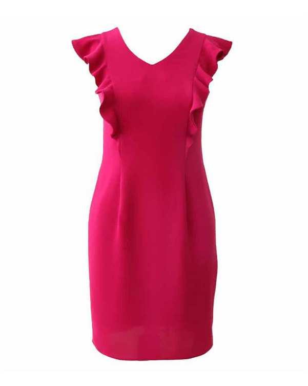 پیراهن زنانه کرپ کد 1010021 سرخابی درس ایگو