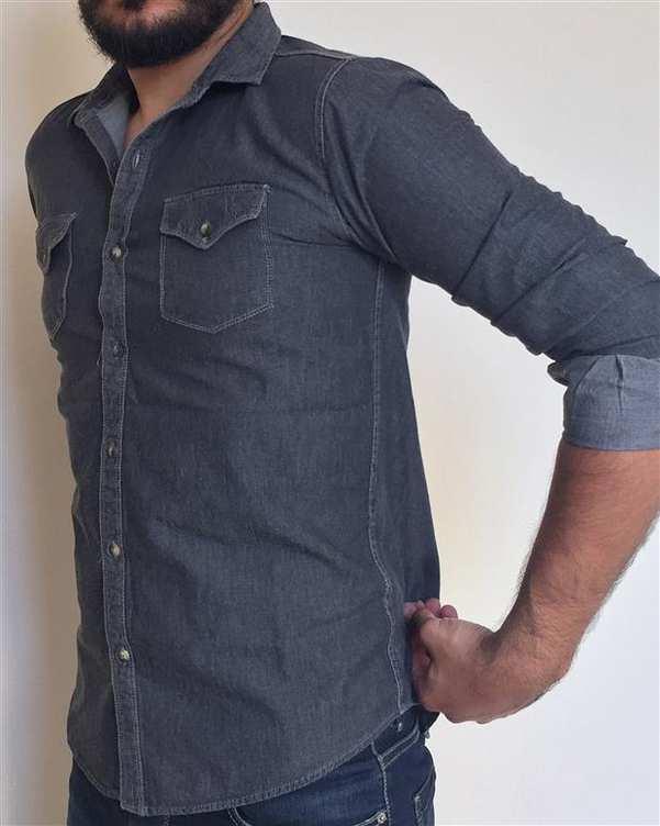 پیراهن مردانه جین زغالی والیانت