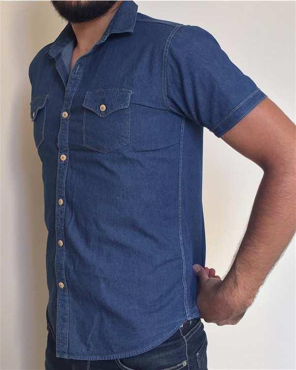 پیراهن مردانه جین آستین کوتاه آبی تیره والیانت