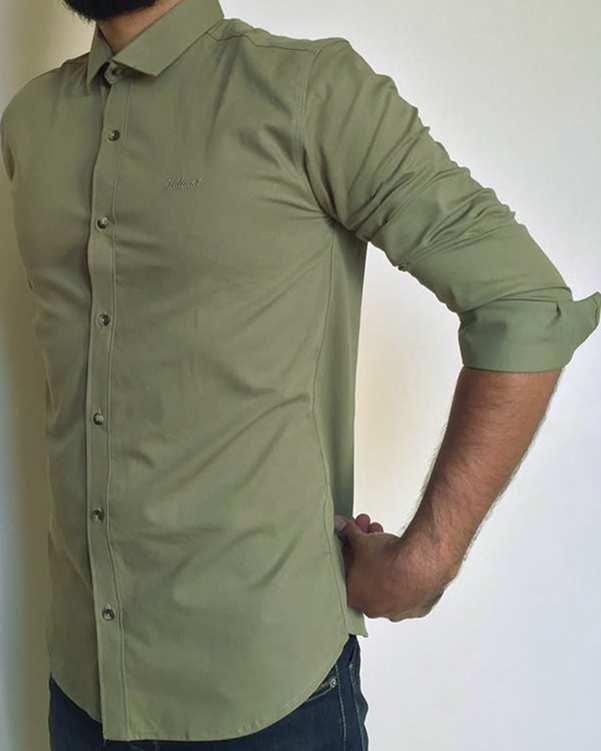 پیراهن مردانه کتان کش سبز خاکی والیانت