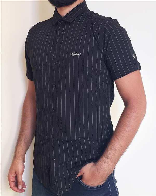 پیراهن مردانه نخی آستین کوتاه مشکی راه راه والیانت