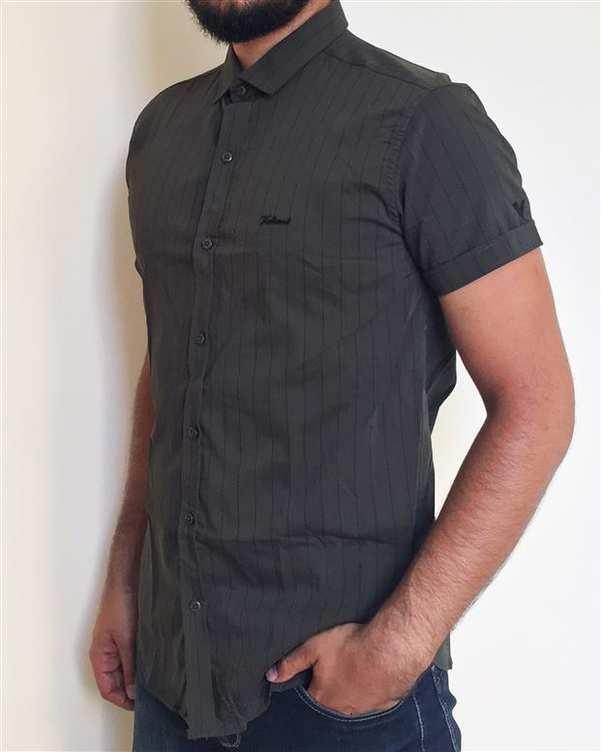 پیراهن مردانه نخی آستین کوتاه سبز راه راه والیانت