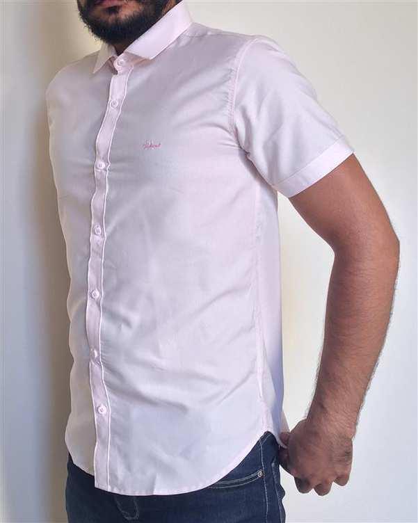 پیراهن مردانه نخی آستین کوتاه صورتی والیانت