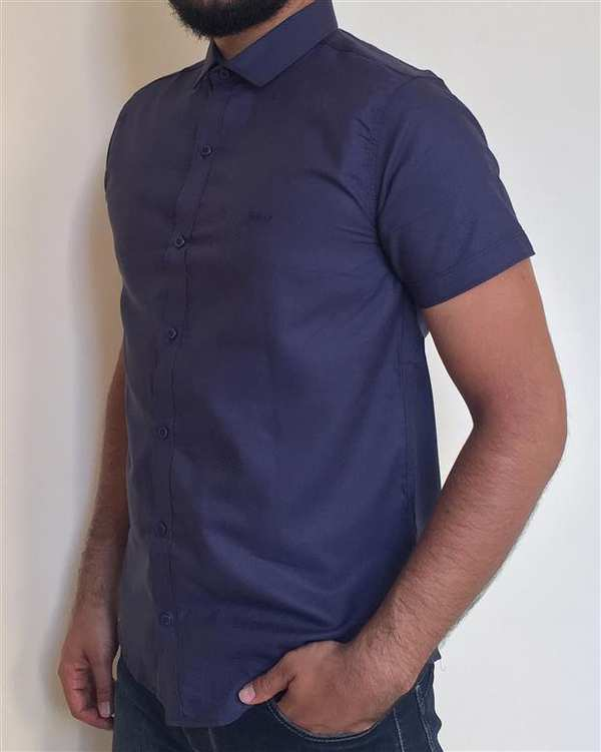 پیراهن مردانه نخی آستین کوتاه سرمه ای والیانت
