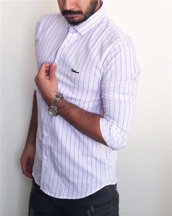پیراهن مردانه سفید راه راه والیانت