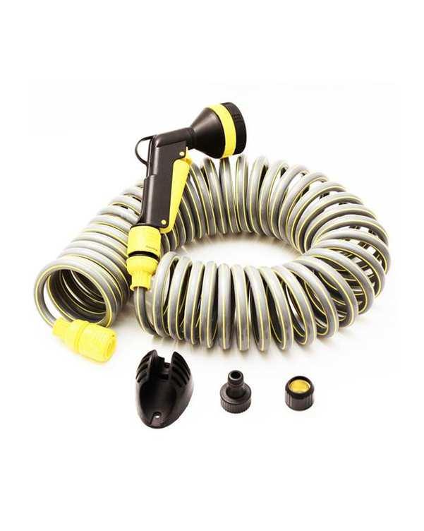 سری آب پاش زرد مدل spiral با شلنگ فنری کارچر