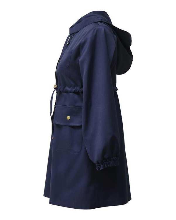 بارانی زنانه کوتاه کلاهدار کد 1100019 سرمه ای درس ایگو