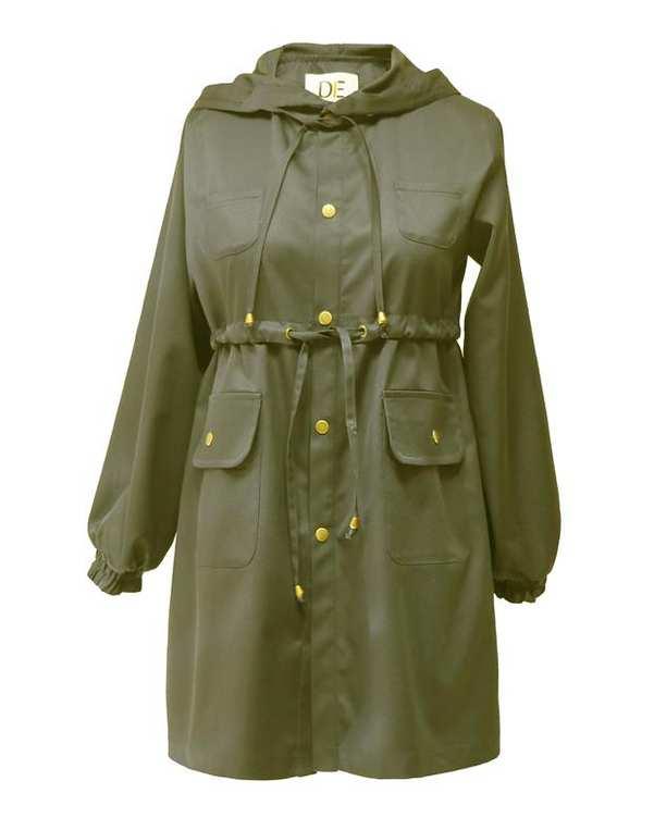 بارانی زنانه کوتاه کلاهدار کد 1100019 سبز درس ایگو