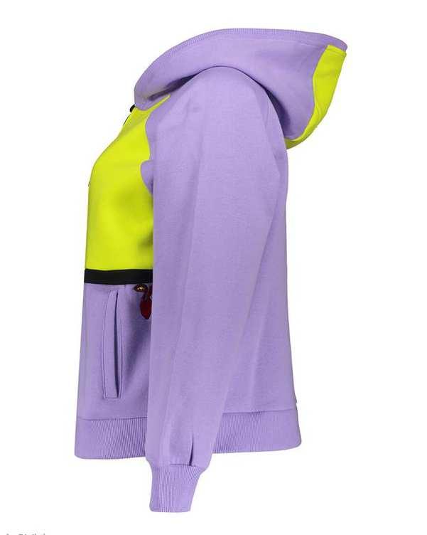 سویشرت زنانه کلاهدار دورس بنفش زرد Massi