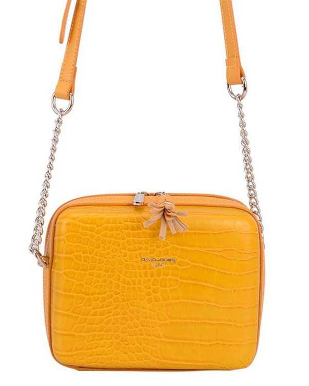 کیف زنانه دوشی مدل cm5660 زرد دیوید جونز