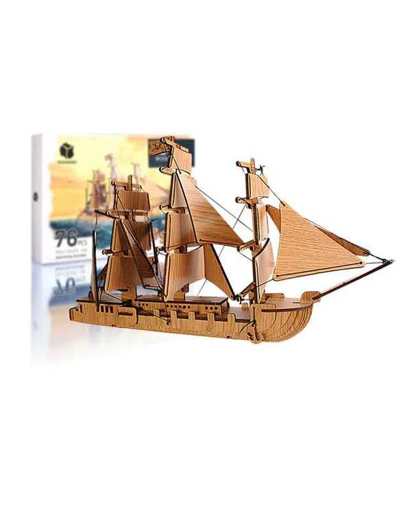 پازل سه بعدی چوبی مدل Pirate Ship پرشنگ