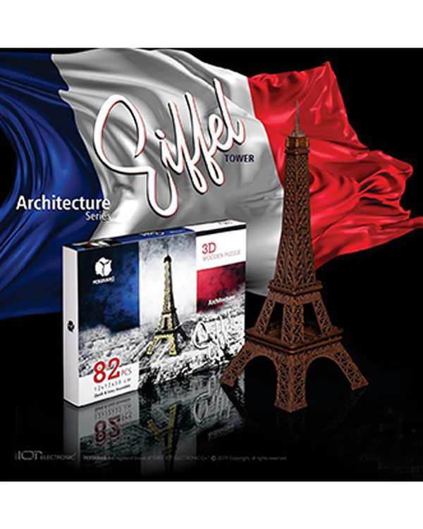 پازل سه بعدی چوبی مدل Eiffel Towre پرشنگ