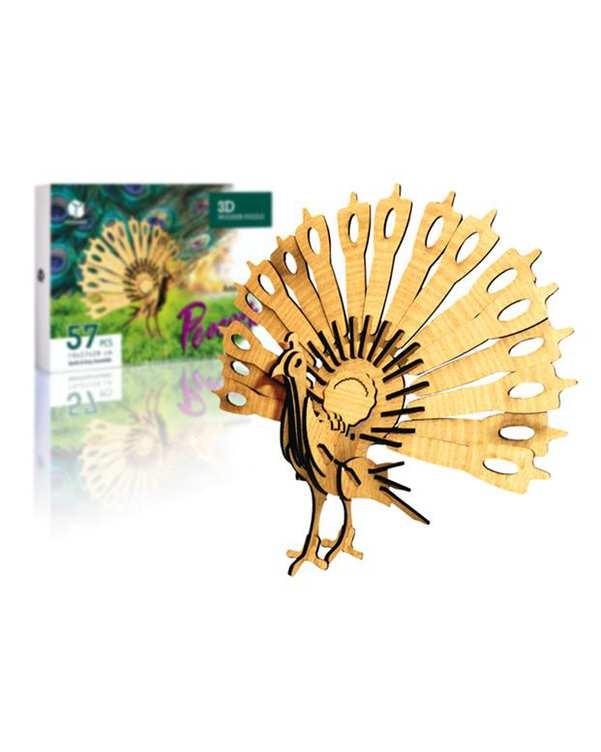پازل سه بعدی چوبی مدل Peacock پرشنگ