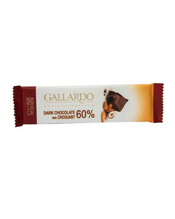 شکلات تلخ 60% با مغزی کروکانت 23 گرمی گالاردو فرمند