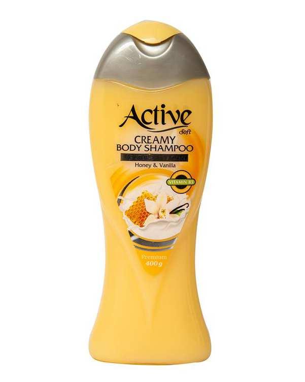 شامپو بدن کرمی حاوی عصاره وانیل و عسل 400 گرمی اکتیو