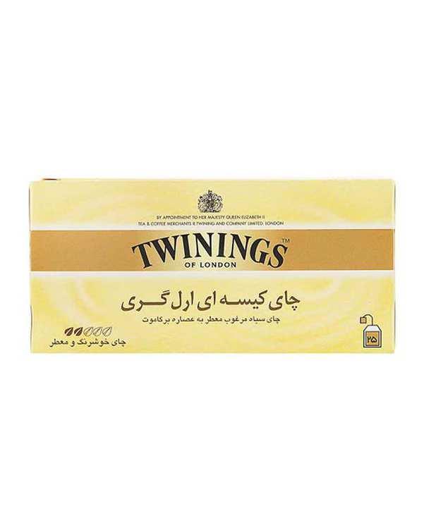 چای سیاه کیسه ای ارل گری توینینگز بسته 25 عددی