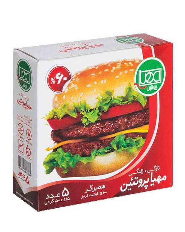 همبرگر 60% 500 گرمی مهیا پروتئین بسته 5 عددی