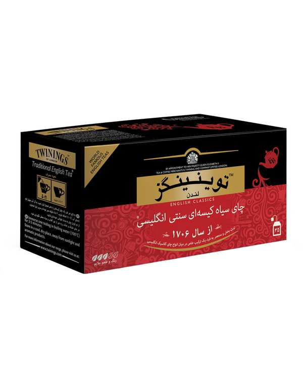چای سیاه کیسه ای سنتی انگلیسی توینینگز بسته 25 عددی