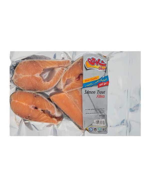 استیک ماهی قزل منجمد سالمون 500 گرم شارین