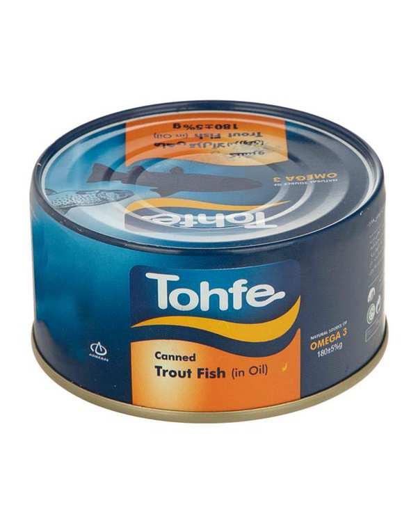 کنسرو تن ماهی قزل آلا در روغن 180 گرمی تحفه