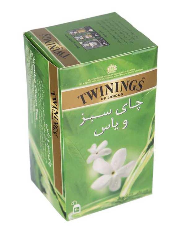 چای سبز کیسه ای با طعم یاس توینینگز بسته 20 عددی
