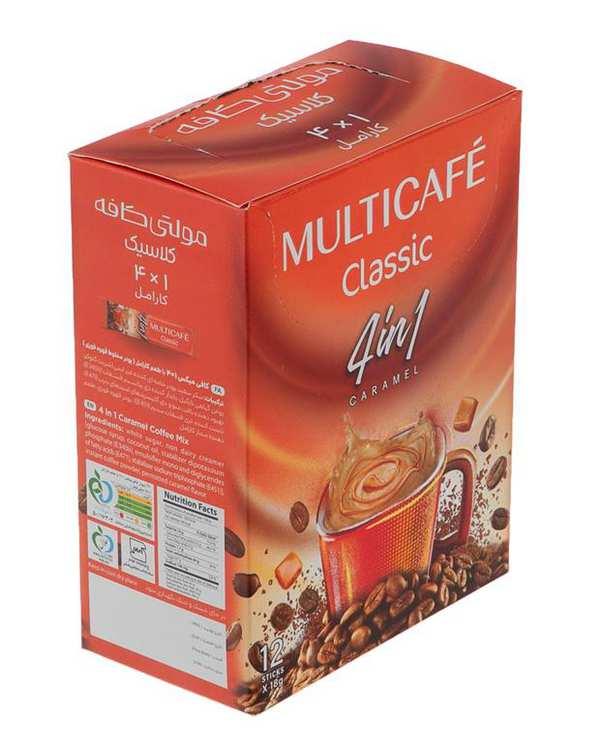 کافی میکس کاراملی 1*4 مولتی کافه بسته 12 عددی
