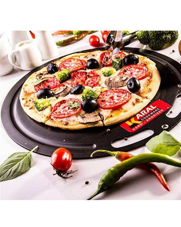 تخته چند منظوره و ظرف پیتزا سایز 30 هارد آنادایزد مشکی کارال