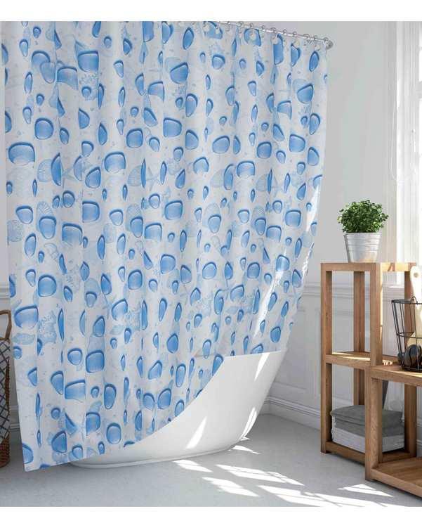 پرده حمام مدل TOR-5173 سفید آبی دلفین
