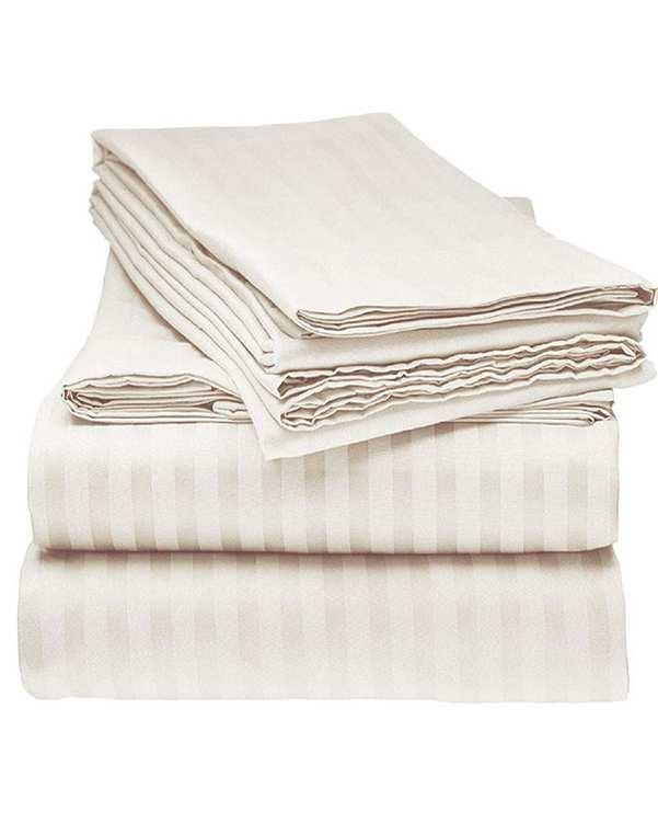 سرویس ملحفه دو نفره 3 تکه طرح Parallel 140 سفید مانیکا هوم