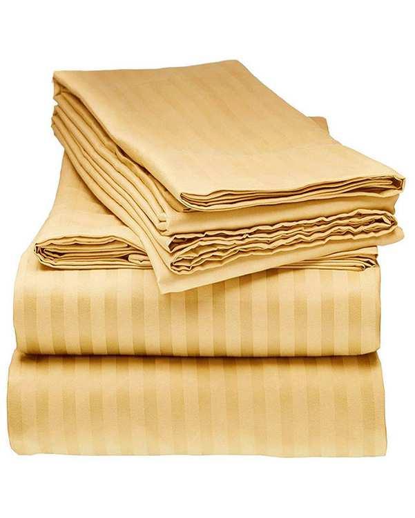 سرویس ملحفه دو نفره 3 تکه طرح Parallel 140 طلایی مانیکا هوم