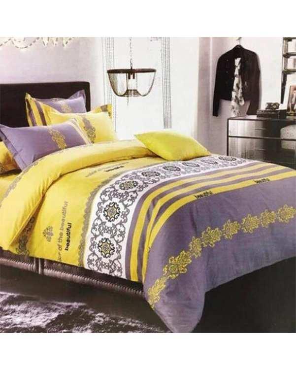 سرویس لحاف دو نفره 3 تکه مدل Beautiful زرد طوسی کویین مانیکا هوم