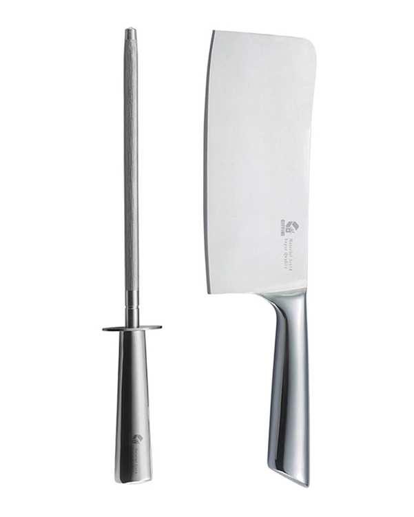 بسته 2 عددی ساطور و چاقو تیز کن استیل مدل G.W.2GP جی فی نی