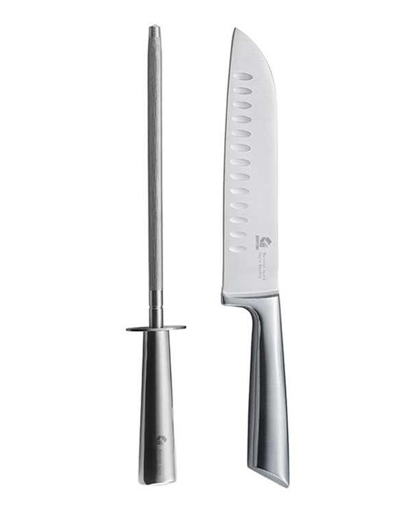 بسته 2 عددی چاقو و چاقو تیز کن استیل مدل G.2DS جی فی نی