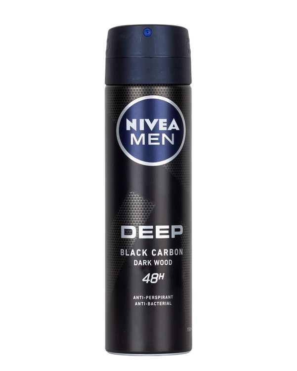 اسپری مردانه دئودورانت 48 ساعته 150ml Deep Black Carbon نیوآ