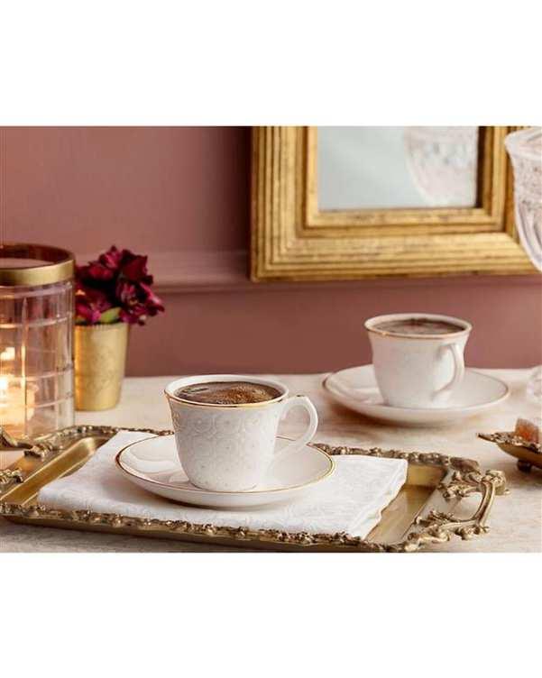 ست 2 عددی فنجان قهوه خوری مدل Craspedia سفید مادام کوکو
