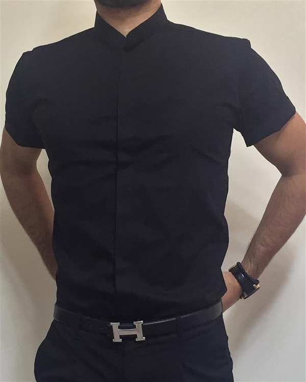 پیراهن مردانه آستین کوتاه مشکی والیانت