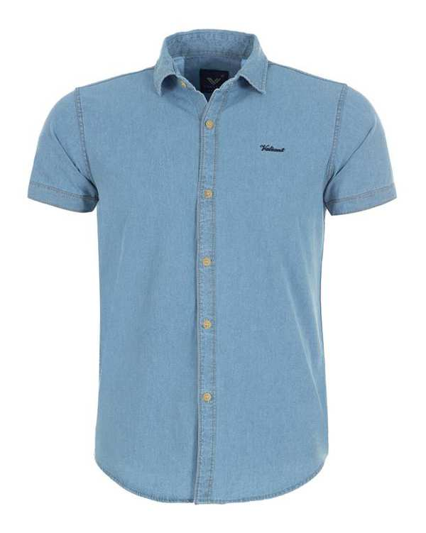پیراهن مردانه جین آستین کوتاه آبی روشن والیانت
