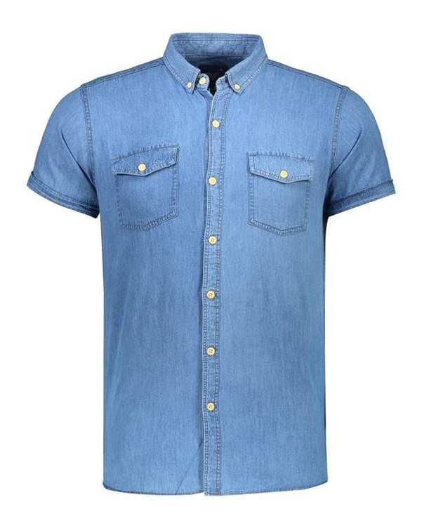 پیراهن مردانه جین آستین کوتاه آبی والیانت