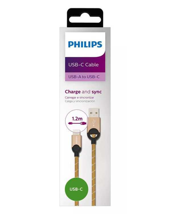 کابل تبدیل USB به USB-C مدل DLC2628G طلایی 1.2m فیلیپس