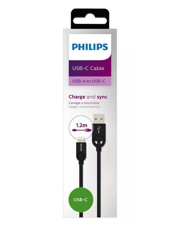 کابل تبدیل USB به USB-C مدل DLC2628B مشکی 1.2 متر فیلیپس