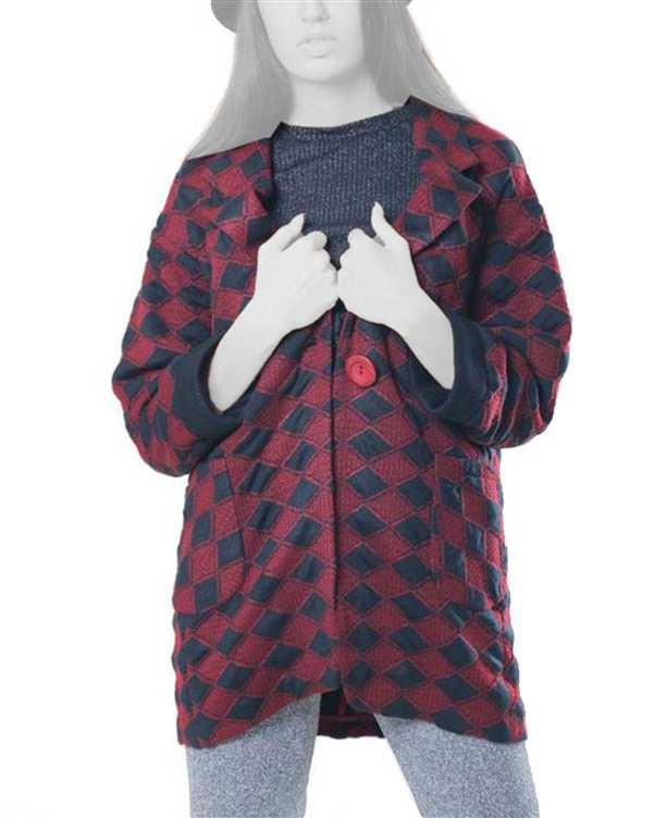 کت زنانه کوتاه بافت قرمز مشکی ژوور