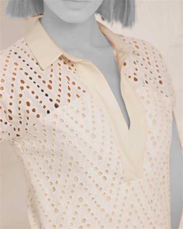 پیراهن زنانه کوتاه کتان یقه هفت سفید ژوور