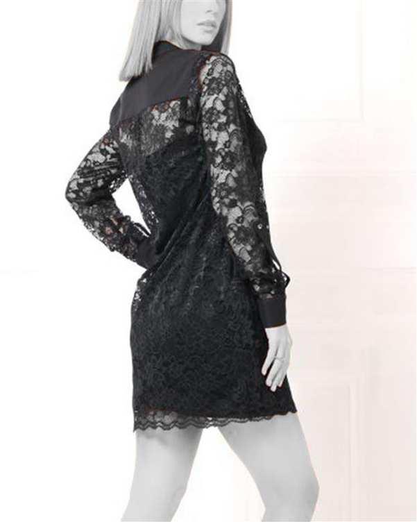 پیراهن زنانه کوتاه یقه ایستاده دانتل مشکی ژوور