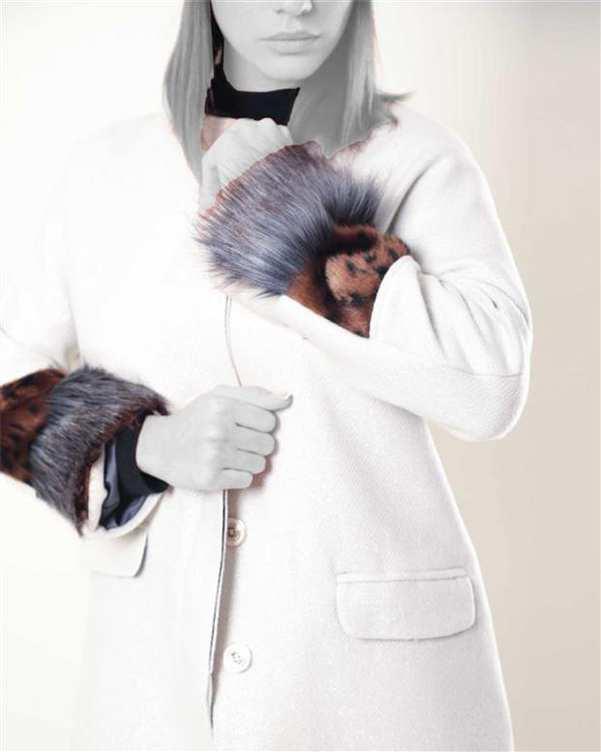 پالتو زنانه پشمی سفید ژوور