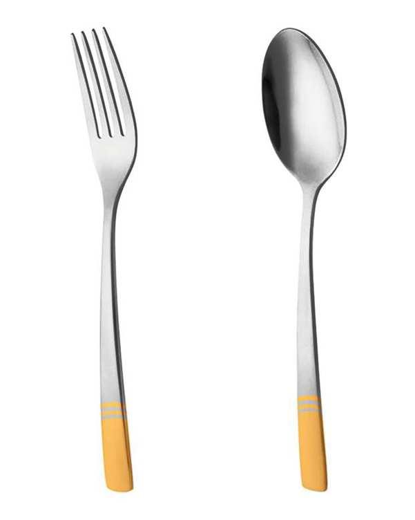 قاشق و چنگال غذاخوری 6 نفره ناب استیل طرح فلورانس طلایی (12 پارچه)