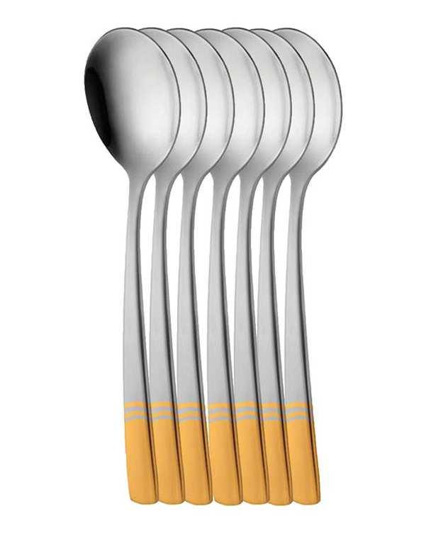 قاشق سوپخوری 6 نفره ناب استیل طرح فلورانس طلایی (6 پارچه)