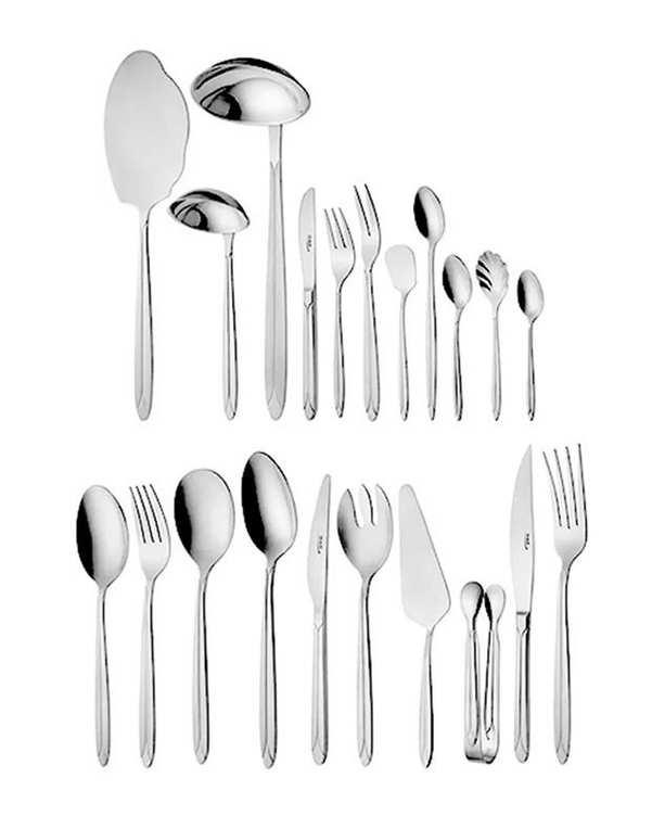 قاشق و چنگال غذاخوری 6 نفره ناب استیل طرح پالرمو دورطلایی (12 پارچه)