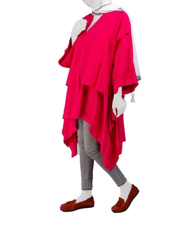 مانتو زنانه آستین کلوش مدل نارنج کرپسو قرمزمانگ