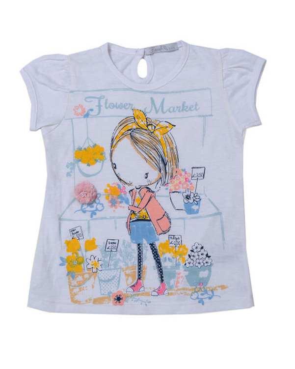 تی شرت دخترانه مدل 31023 نخی سفید فیورلا